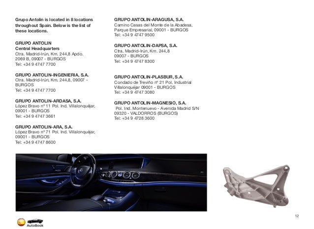 Section 2 Span Automotive Suppliers Page 13 The full version of the Spain AutoBook includes profiles of the following Compa...
