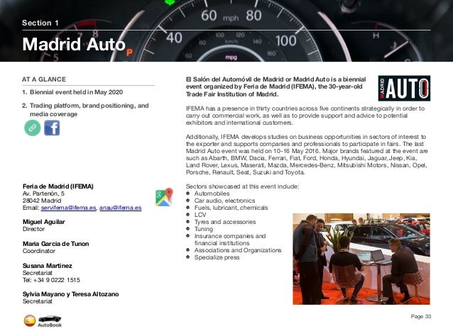 Section 2 Automotive Events in Spain Page 34 The full version of the Spain AutoBook includes profiles of the following Even...