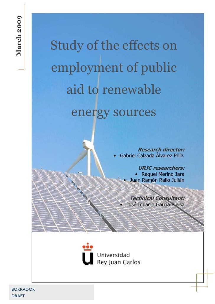 March 2009                  Study of the effects on               employment of public                 aid to renewable   ...