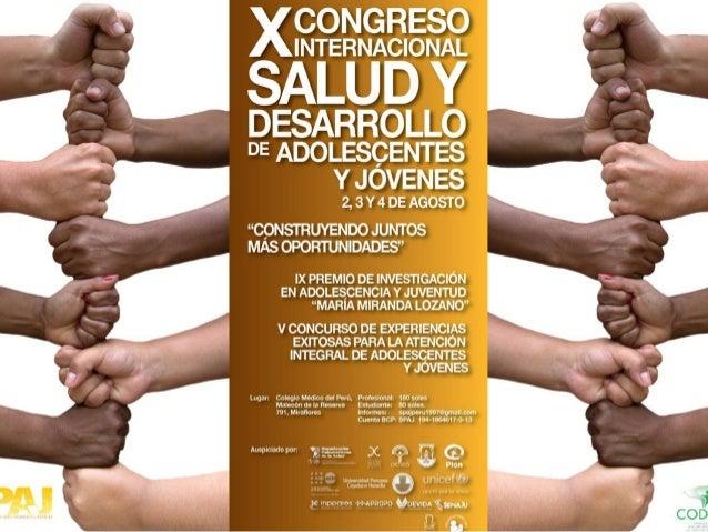XVI Aniversario Sociedad Peruana de Adolescencia y Juventud SPAJ  X CONGRESO INTERNACIONAL SALUD Y DESARROLLO DE ADOLESC...