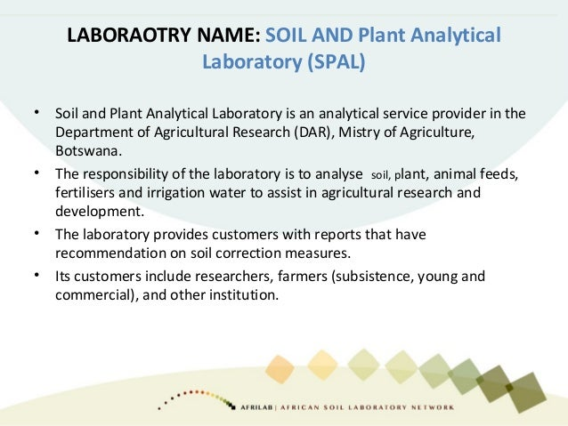 Soil analysis in your country How many routine laboratories exist in your country? 1 Other institution are in the process ...