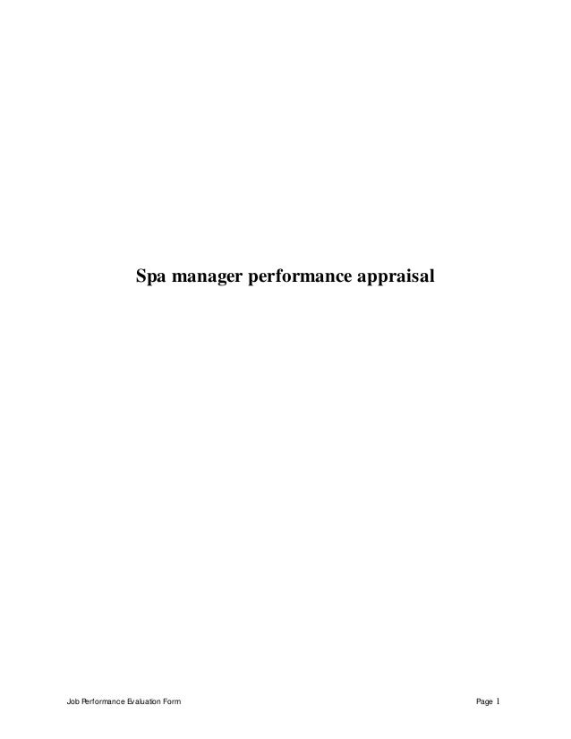 Job Performance Evaluation Form Page 1 Spa Manager Appraisal