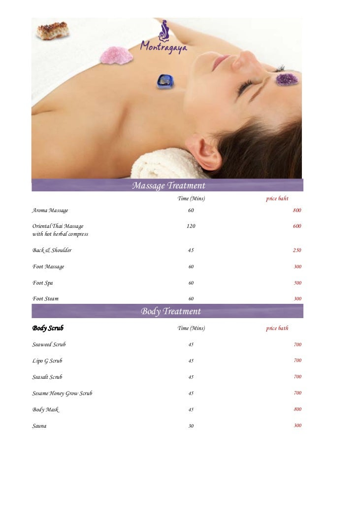 Montragaya Package                            Massage Treatment                                       Time (Mins)   price ...