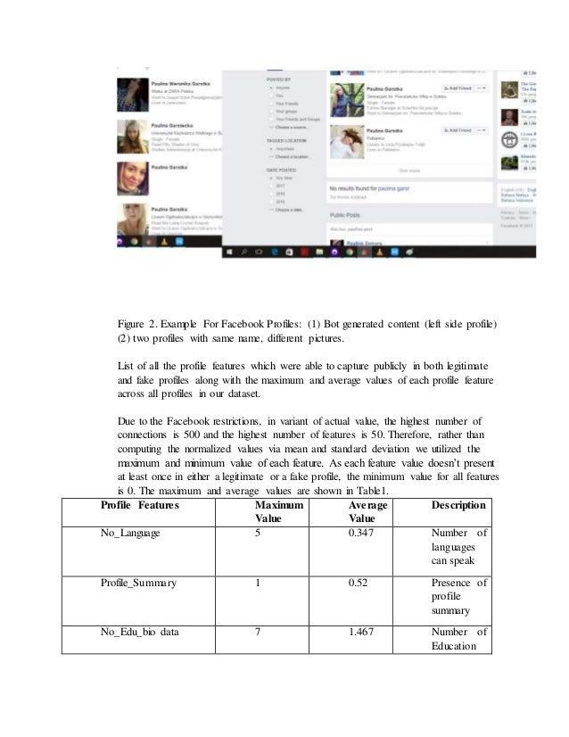 Spam identification fake profile