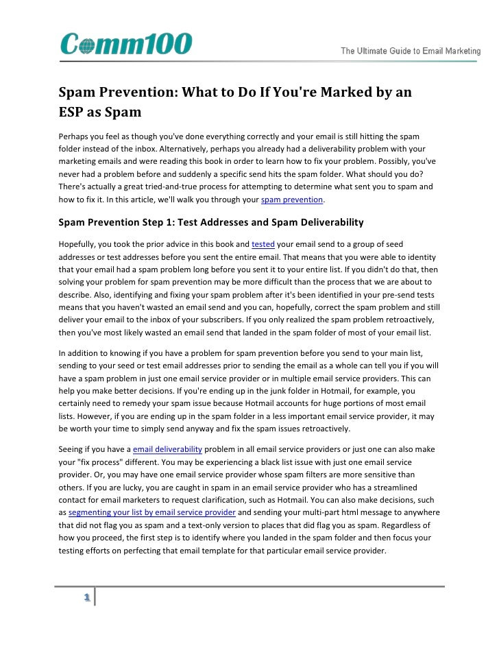 Spam Prevention: What to Do If Youre Marked by anESP as SpamPerhaps you feel as though youve done everything correctly and...