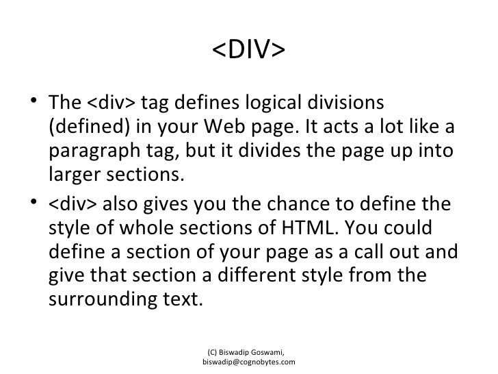 Span and div tags in html for Html div