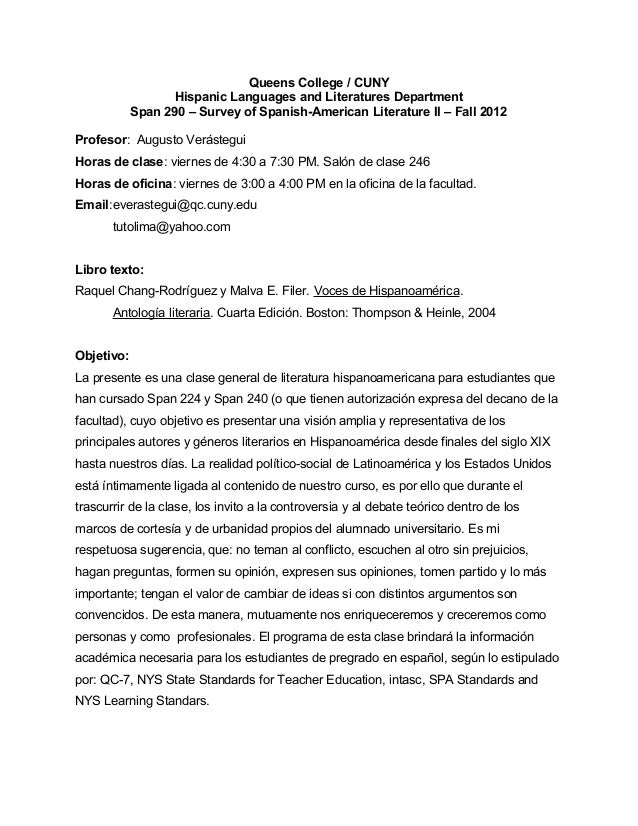 Queens College / CUNY Hispanic Languages and Literatures Department Span 290 – Survey of Spanish-American Literature II – ...