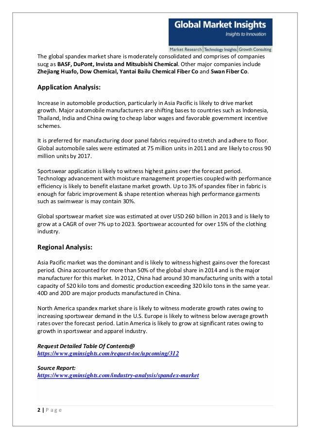 Spandex market size pdf