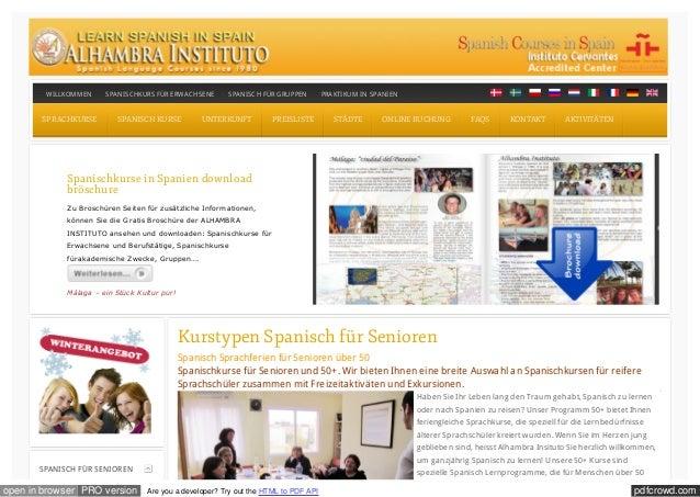 WILLKOMMEN     SPANISCHKURS FÜR ERWACHSENE       SPANISCH FÜR GRUPPEN         PRAKTIKUM IN SPANIEN       SPRACHKURSE      ...