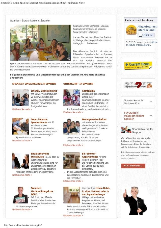 Spanisch lernen in Spanien | Spanisch Sprachkurse Spanien | Spanisch intensiv Kurse http://www.alhambra-instituto.org/de/ ...