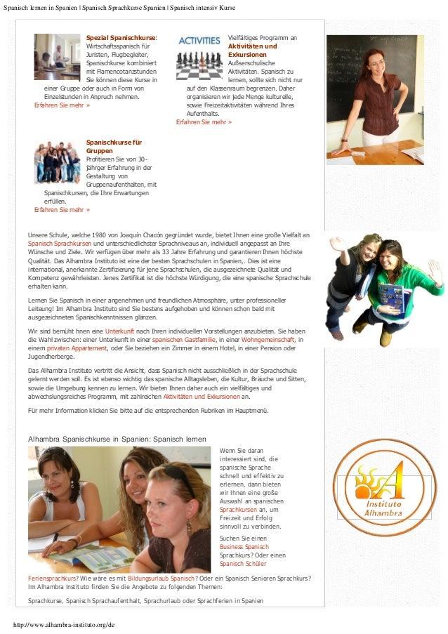 Spanisch lernen in Spanien :: Spanisch Sprach Kurse in Spanien :: Sprachreisen nach Spanien Slide 2