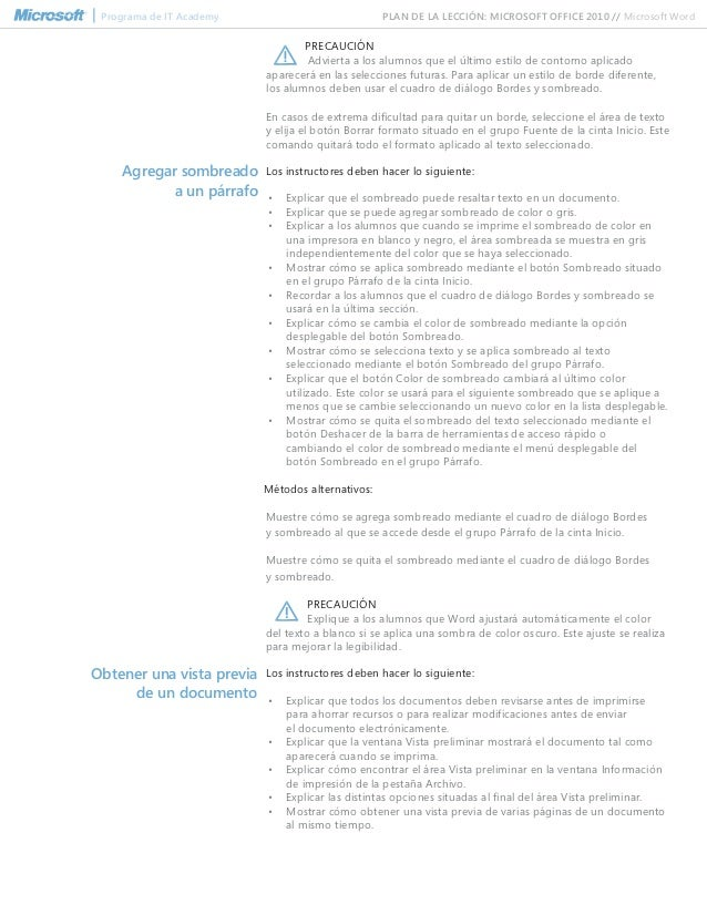 ms word 2010 lesson plans