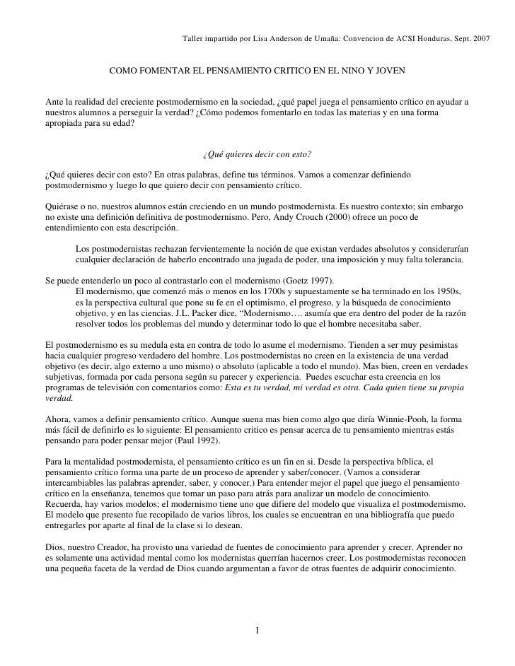 Taller impartido por Lisa Anderson de Umaña: Convencion de ACSI Honduras, Sept. 2007                    COMO FOMENTAR EL P...