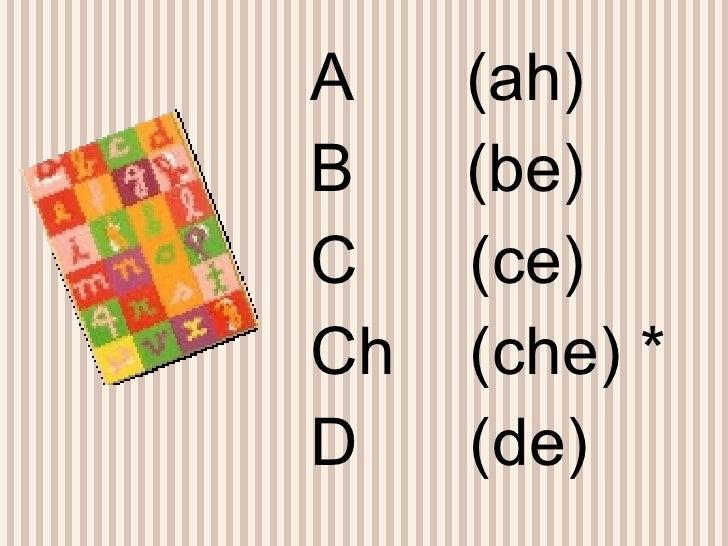 <ul><li>A  (ah) </li></ul><ul><li>B  (be) </li></ul><ul><li>C  (ce) </li></ul><ul><li>Ch  (che) * </li></ul><ul><li>D  (de...