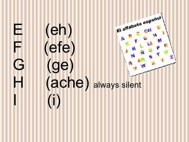 E  (eh) F  (efe) G  (ge) H  (ache)  always silent I  (i)