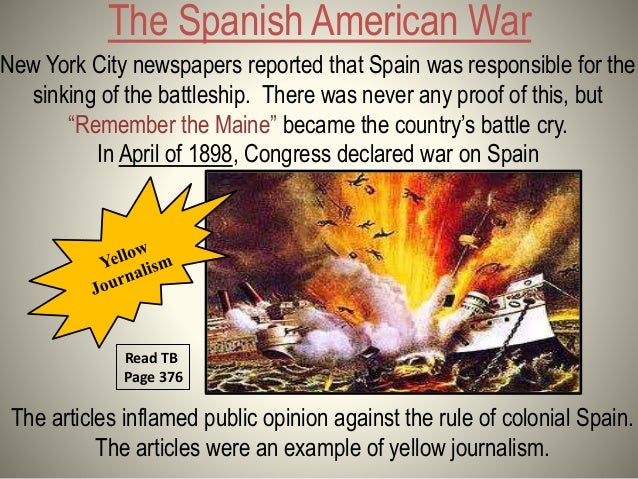 Read TB pages 376; 3. The Spanish American War ...
