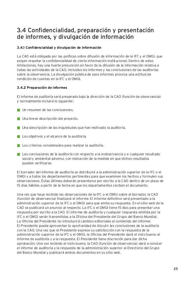 funciones de la cao - compliance advisor ombudsman ifc