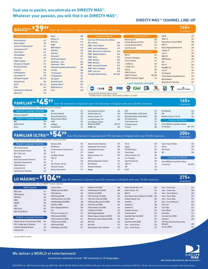 photograph regarding Printable Directv Channel List titled Spanish Channel Lineup