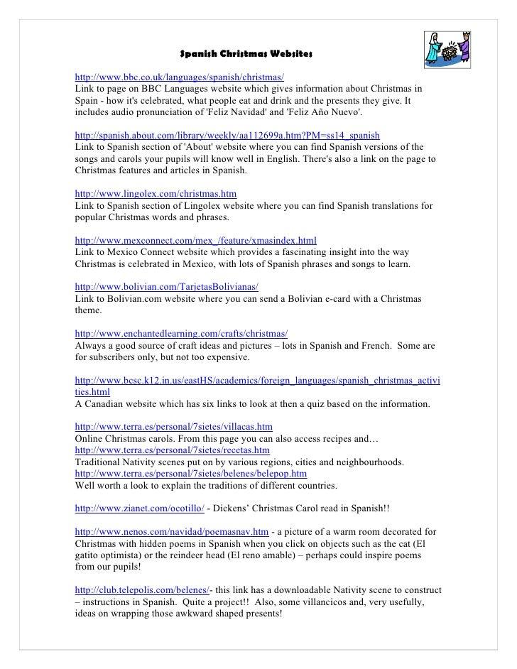 spanish christmas websites httpwwwbbccouklanguages