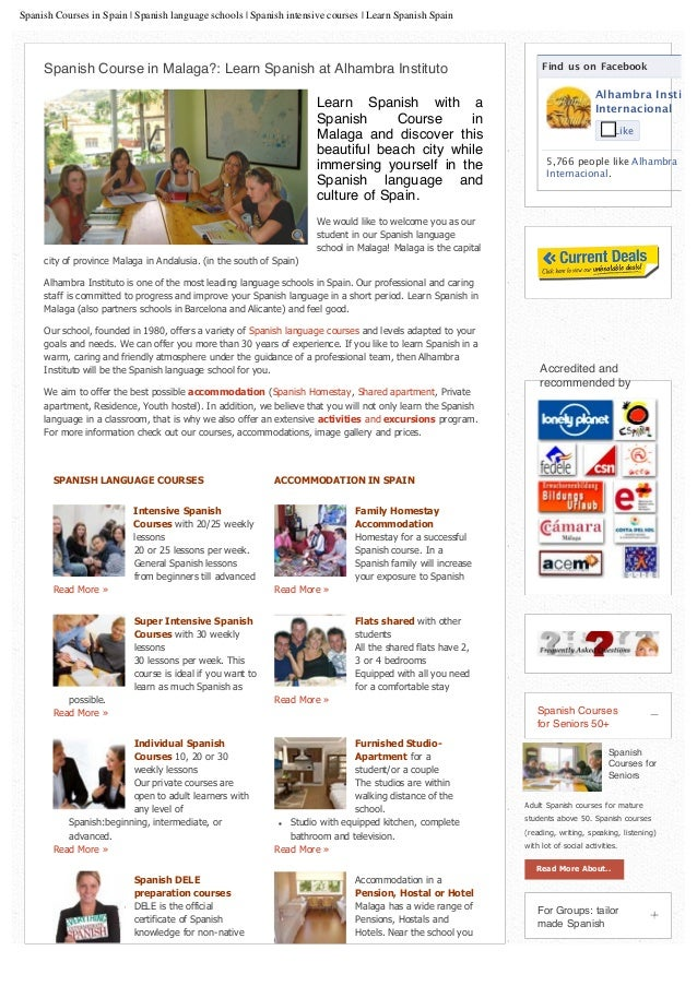 Spanish Courses in Spain | Spanish language schools | Spanish intensive courses | Learn Spanish Spain Find us on Facebook ...
