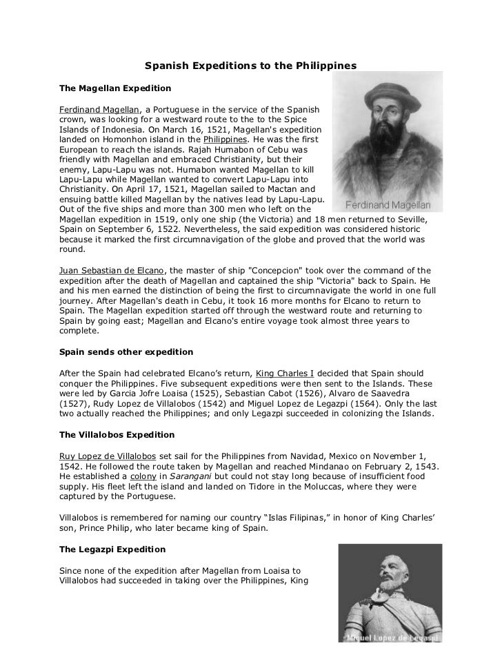 """Spanish Expeditions to the Philippines<br />right0The Magellan Expedition<br /> HYPERLINK """"http://www.studyworld.com/ferdi..."""