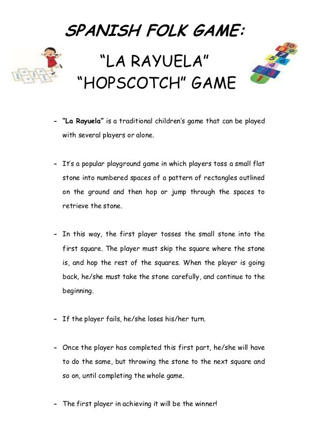 "SPANISH FOLK GAME:         ""LA RAYUELA""       ""HOPSCOTCH"" GAME- ""La Rayuela"" is a traditional children's game that can be ..."