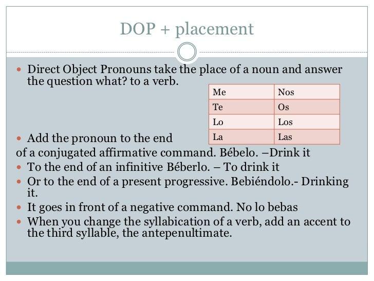 Direct and Indirect Object Pronouns Combined (Los pronombres de ...
