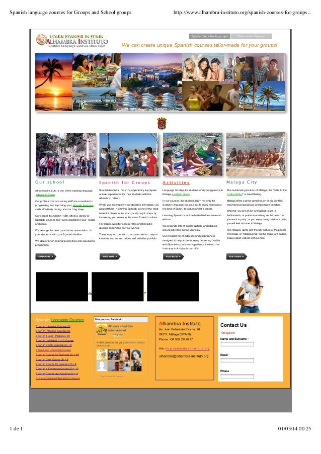 Spanish language courses for Groups and School groups  http://www.alhambra-instituto.org/spanish-courses-for-groups...  Sp...