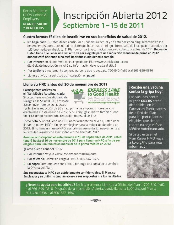 Spanish open enrollment notice