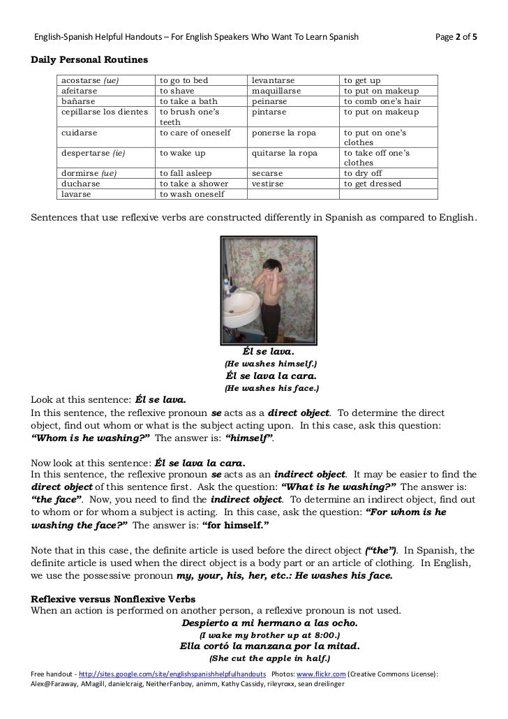 KS3 Spanish Daily Routine And Reflexive Verbs By