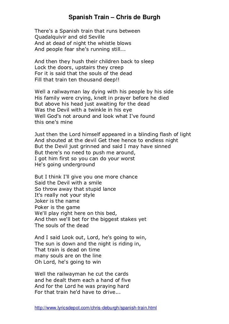 Lyric god is dead lyrics : Spanish train by Chris de Burgh lyrics