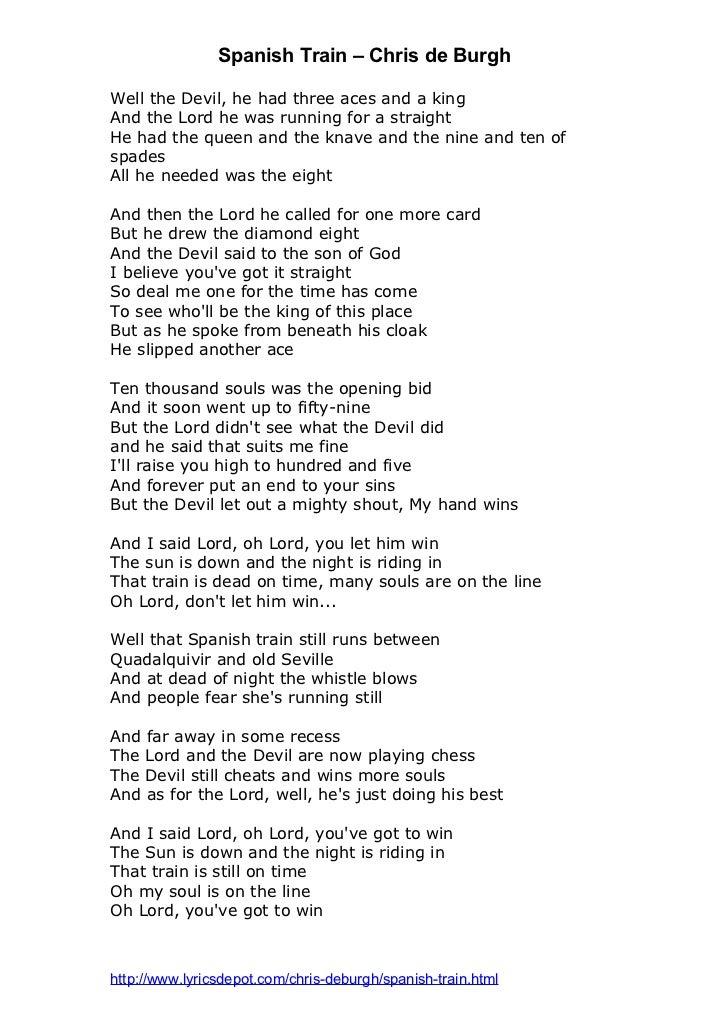 Lyric lyrics to shout to the lord : Spanish Train by Chris de Burgh lyrics