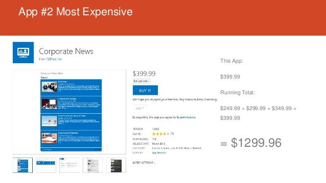App #2 Most Expensive This App: $399.99 Running Total: $249.99 + $299.99 + $349.99 + $399.99 = $1299.96