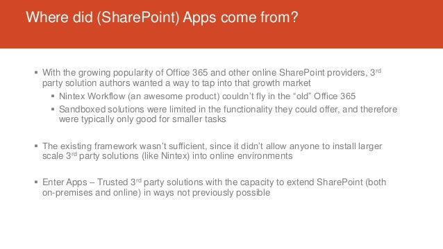 Where did (SharePoint) Apps come from?  With the growing popularity of Office 365 and other online SharePoint providers, ...