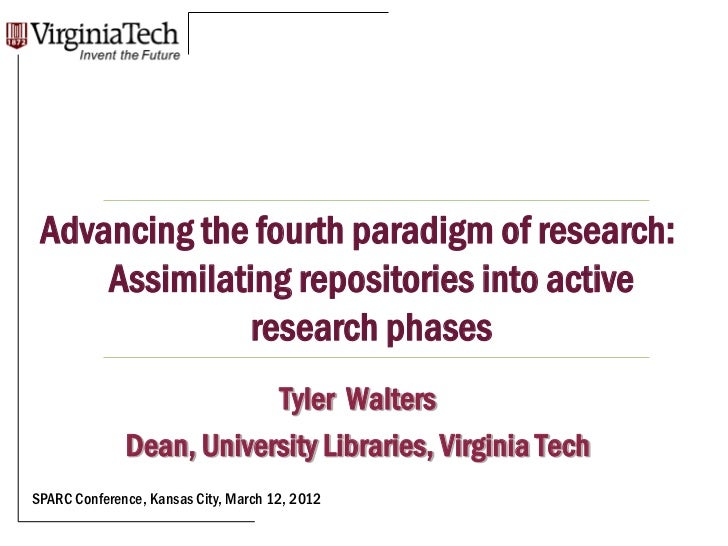Title Here Advancing the fourth paradigm of research:     Assimilating repositories into active               research pha...