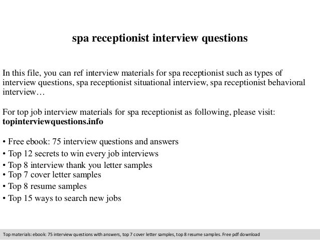 Wonderful Spa Receptionist Interview Questions In This File, You Can Ref Interview  Materials For Spa Receptionist ...  Spa Receptionist Resume