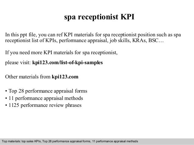 Spa Receptionist KPI In This Ppt File, You Can Ref KPI Materials For Spa  Receptionist ...