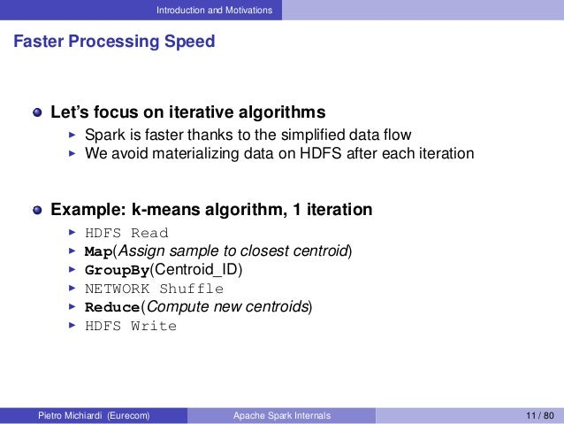 Introduction and Motivations Faster Processing Speed Let's focus on iterative algorithms Spark is faster thanks to the sim...