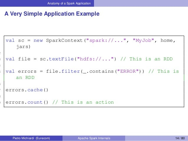 "Anatomy of a Spark Application A Very Simple Application Example 1 val sc = new SparkContext(""spark://..."", ""MyJob"", home,..."