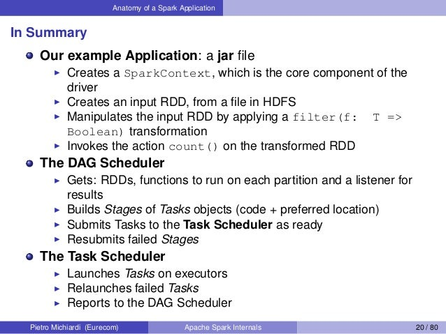 Anatomy of a Spark Application In Summary Our example Application: a jar file Creates a SparkContext, which is the core com...