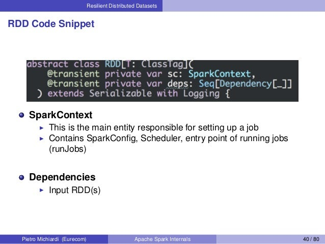 Resilient Distributed Datasets RDD Code Snippet SparkContext This is the main entity responsible for setting up a job Cont...