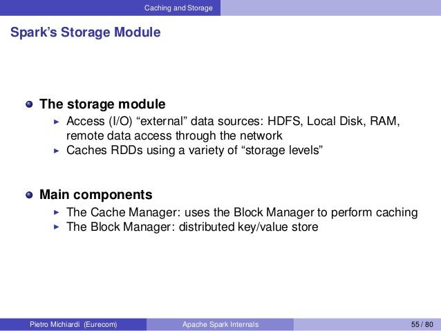 """Caching and Storage Spark's Storage Module The storage module Access (I/O) """"external"""" data sources: HDFS, Local Disk, RAM,..."""