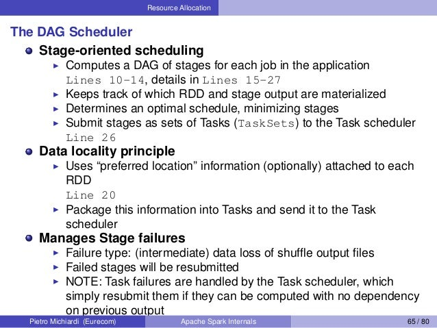 Resource Allocation The DAG Scheduler Stage-oriented scheduling Computes a DAG of stages for each job in the application L...