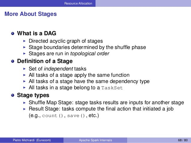 Resource Allocation More About Stages What is a DAG Directed acyclic graph of stages Stage boundaries determined by the sh...