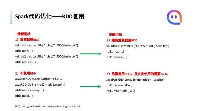 """Spark代码优化——RDD复用 错误用法 1)重复创建RDD val rdd1 = sc.textFile(""""hdfs://*:9000/hello.txt"""") rdd1.map(...) val rdd2 = sc.textFile(""""hd..."""