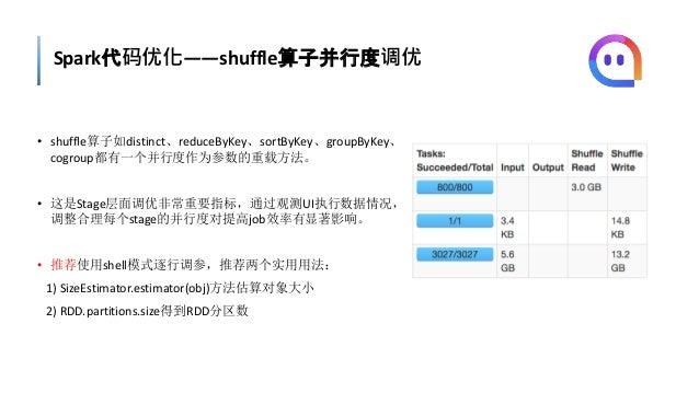 Spark代码优化——shuffle算子并行度调优 • shuffle算子如distinct、reduceByKey、sortByKey、groupByKey、 cogroup都有一个并行度作为参数的重载方法。 • 这是Stage层面调优非常重...