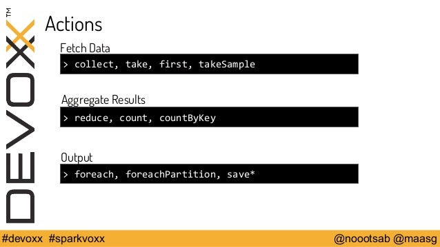 Actions  Fetch Data  > collect, take, first, takeSample  Aggregate Results  > reduce, count, countByKey  Output  > foreach...
