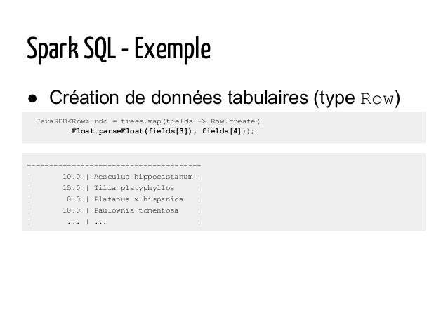 JavaRDD<Row> rdd = trees.map(fields -> Row.create( Float.parseFloat(fields[3]), fields[4])); ● Création de données tabulai...