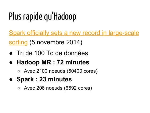 Plus rapide qu'Hadoop Spark officially sets a new record in large-scale sorting (5 novembre 2014) ● Tri de 100 To de donné...