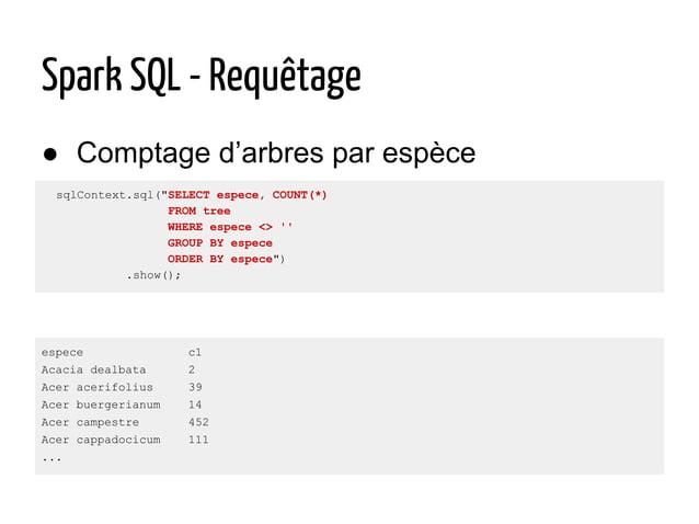 """● Comptage d'arbres par espèce Spark SQL - Requêtage sqlContext.sql(""""SELECT espece, COUNT(*) FROM tree WHERE espece <> '' ..."""